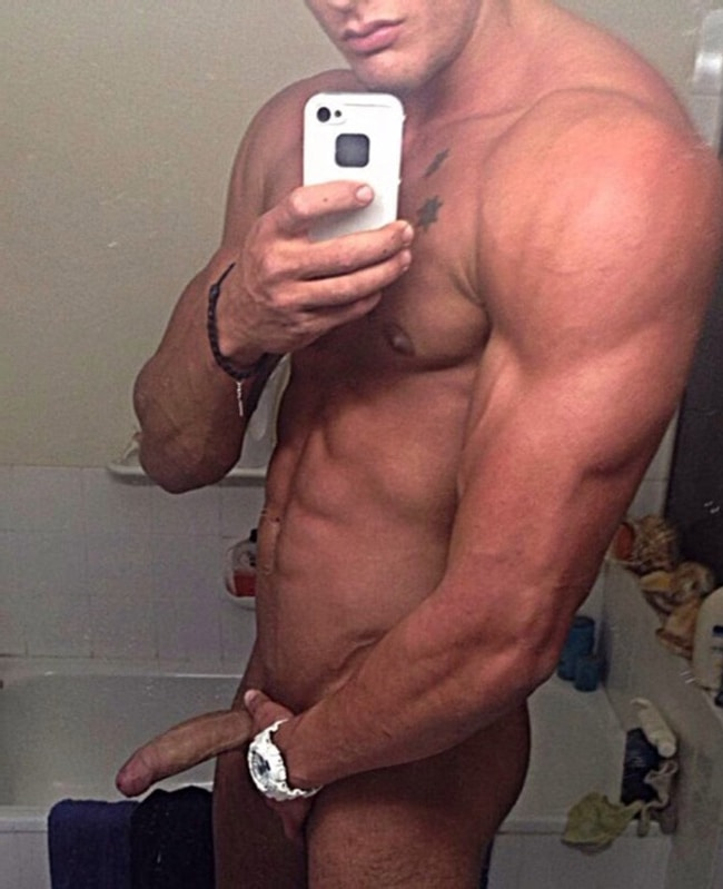 Muscle Man Taking Nude Picture